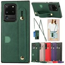 For Samsung Galaxy S20FE Note20 Ultra Leather Card Holder Strap Stand Case Cover