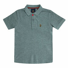 Junior Boys Luke 1977 Williams Polo Shirt In Grey Marl- Long Sleeve- Ribbed