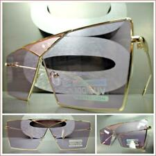 CLASSIC VINTAGE RETRO Luxury SHIELD Style SUNGLASSES Gold Frame Flat Purple Lens