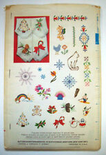 Vintage embroidery pattern transfers 4004 rainbow cat Christmas snowflakes