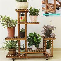 Sturdy 5 Tier Wood Plant Stand Outdoor Flower Rack Bookshelf w/ Wheels Rolling