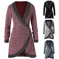 2018 Womens knitted Long Coat Shawl Collar Contrast Trim Side Zipper Cardigan P