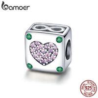 Bamoer S925 Sterling Silver charm Bead Shining Heart Fit Women Bracelet Jewelry