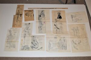 1956 Vintage Org Advertising Mock-up Art Men's Women's Fashion Drawing Sketches