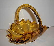 Vintage Viking Epic Amber Basket With Applied Handles Began 1951 Mid-Century