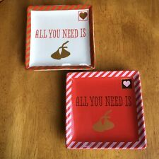 Fitz & Floyd Hershey's Kisses All You Need Is Love Square Plates Valentines ��