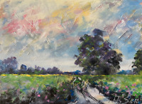 Dirt Tract Field Meadows Painting Impressionist LANDSCAPE Semberecki