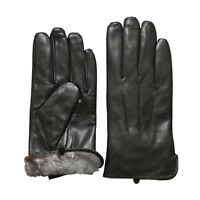 Rob Riverdale Men's Luxury Rabbit Fur Lined Genuine Soft Black Leather Gloves