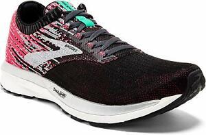 Brooks Womens Ricochet Running Shoes, Pink/Black/Aqua