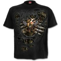 Spiral Direct STEAM PUNK RIPPED T-Shirt Skull/Reaper/Rips/Tribal