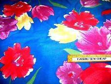 """Vintage MANES Cotton Fabric TULIP FLORAL Blue Red Lilac Green 44"""" x 36""""    B"""