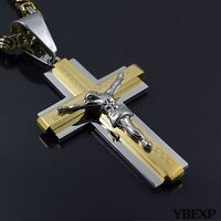 20-36'' MENS Stainless Steel Gold Silver Jesus Cross Pendant Necklace Chain
