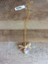 KENNETH JAY LANE Goldtone Bee Bug Simulated Blue Opal Rhinestone  Necklace  $120