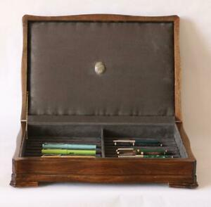 #858 HAND CRAFTED FOUNTAIN PEN STORAGE CUSTOM BUILT SOLID MAHOGANY DISPLAY CHEST