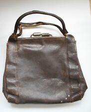 Brown Victorian Edwardian Vintage Leather Handbag Bag