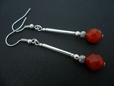 A PAIR OF SILVER PLATED RED CARNELIAN  BEAD  EARRINGS. NEW.