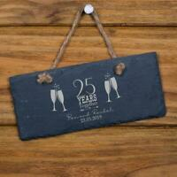 Personalised Slate 25th Anniversary Plaque Gift SL-RC36