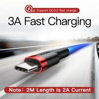 Type C USB-C Quick Charger Fast Charging 2M Sync Data Cable For Samsung HTC OPPO
