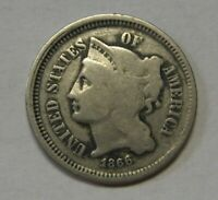 1866 Three Cent Nickel Piece Grading GOOD Bargain Priced and Shipped FREE  c89