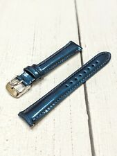 NOS Ladies Fashion Watch Strap Band 16mm - Glossy Navy Blue Metal Quick Release