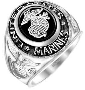 New Men's 0.925 Sterling Silver US Marine Corps USMC Military Solid Back Ring