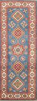 Geometric Super Kazak Oriental Runner Rug Hand-Knotted Wool 2x6 ft BLUE Carpet