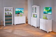 Vaisselier bahut buffet commode rangement meuble de cuisine bois massif BLANC