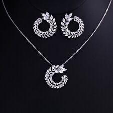 Genuine Clear White Zircon Flower Chain Necklace Pendant Earrings Jewellery Set