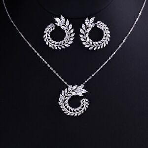 Silver Zircon  Jewellery Set Flower Chain Necklace Pendant Earrings Bridal Set