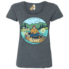 Time Is Like a Río Camiseta Barco Lake Natural Viaje Aire Libre Mujer Cuchara