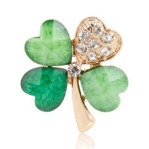ZARD Shamrock Four Leaf Clover Clear Crystal Rheinstone Pin Brooch in Gold Tone