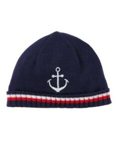 GYMBOREE SHORE TO COVE NAVY w/ ANCHOR SWEATER BEANIE HAT 0 3 6 12 18 NWT