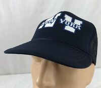 Vtg New York NY Hat Snapback Trucker Cap Navy Blue Tourist 80's Mesh