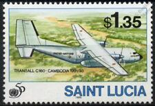 United Nations (UN) TRANSALL C-160 Transport Aircraft Stamp (1995 St Lucia)