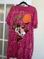Vintage Space Jam 1996 Pajama Night sleep T-Shirt  pink Oversized Taz Devil