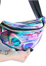 Rainbow transparent Bag Punk chic Hologram FANNY PACK Punk Bum Bag Purse#
