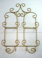 Wrought Iron 4 Plate display Rack wall hanging gold tone scroll design w/ hooks