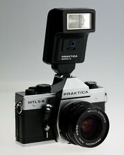 PRAKTICA MTL 5B 35mm SLR Film Camera with 50mm lens 1600a Flash Shoulder Bag