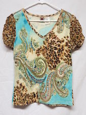 Forbidden Shirt w Beads Sequins & Animal Print Accents Size M