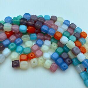 Multi Colored UV Translucent Square Czech Glass Beads (6mm) (BCG103)
