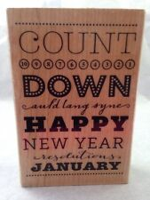 Stampabilities Happy New Year Subway Art Count Down January Rubber Stamp NO INK