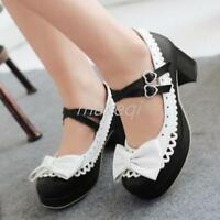 Sweet Lolita Womens Bowknot Ankle Strap Block Heels Mary Jane Pump Shoes New