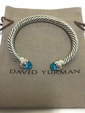 David Yurman Sterling Silver Cable Classics Bracelet Blue Topaz and Diamonds 7mm