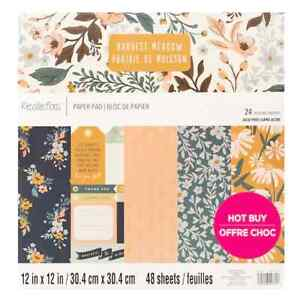 """RECOLLECTIONS Scrapbook Paper Pad HARVEST MEADOW 48 Sheets 12x12"""" Flowers Foil"""