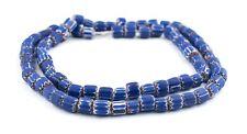 Matte Blue Chevron Beads 8mm Cylinder Glass 25 Inch Strand