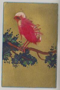 Neuheit Postkarte - Vogel auf Einem Branch. Vogel Hergestellt Aus Federn (A13)