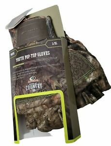 Mossy Oak Gloves YOUTH Pop-Top - Size Youth L/XL Microban Infused,Non-slip Palm