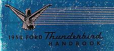 1958 Ford Thunderbird Owners Manual 58 T Bird Tbird Owner Handbook Guide Book