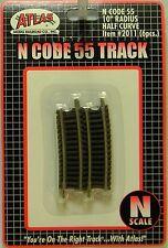 """NIB N Atlas #2011 Code 55 10""""r Half Curve Track 6 Pieces"""