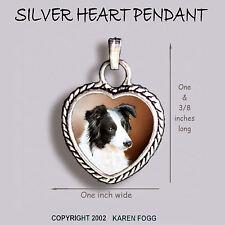 BORDER COLLIE DOG Black and White - Ornate HEART PENDANT Tibetan Silver